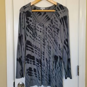 Julie Mango Gray & Black Tie-Dye Tunic